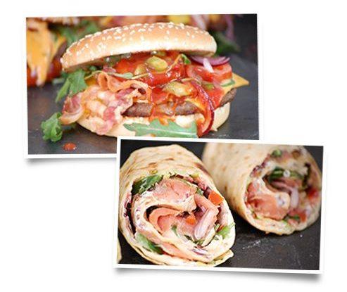 Leckerer Chili Burger mit Bacon und frische Wraps im Waldhaus im Wildpark Schwarze Berge
