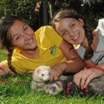 Ferienprogramm im Wildpark Schwarze Berge, Mädchen, Frettchen, Leine, spazieren gehen, schöne Ferien, tierische Ferien