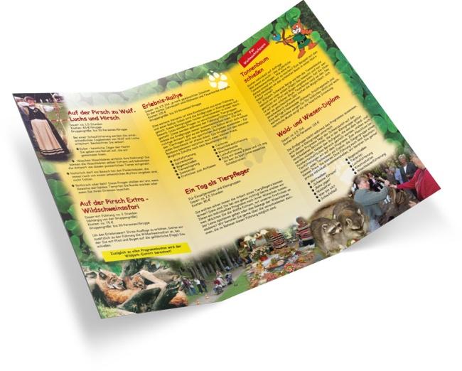 Angebots-Flyer über Ausflüge und Erlebnistouren für Gruppen, Familien, Betriebe, Firmen und Vereine im Wildpark Schwarze Berge