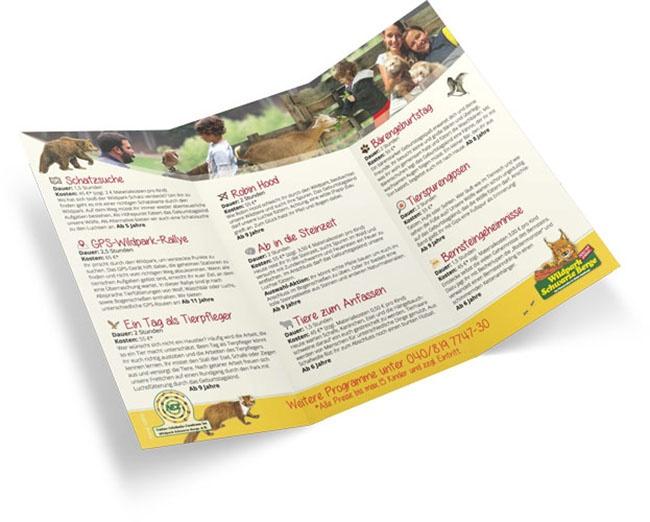 Angebots-Flyer über Programme und Erlebnistouren für Kindergeburtstage im Wildpark Schwarze Berge