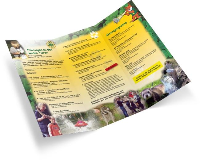 Angebots-Flyer über Ausflüge und Erlebnistouren für Schulklassen im Wildpark Schwarze Berge