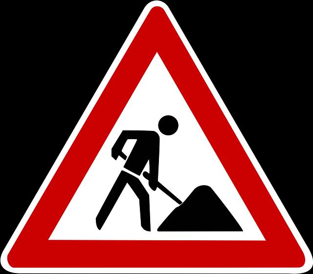 Verkehrsschild Achtung Baustelle