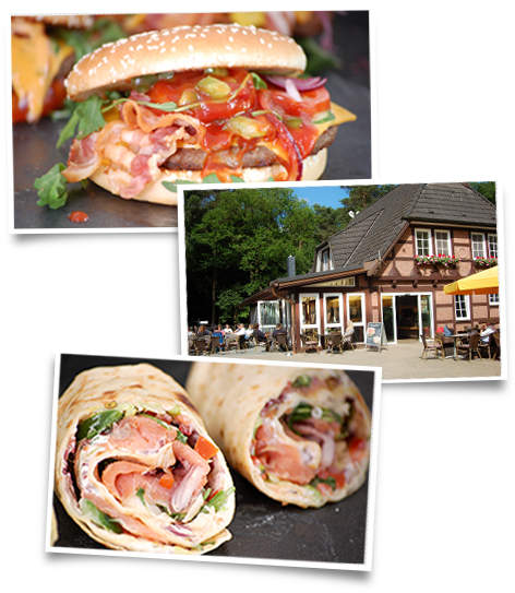 Collage Waldhaus, Waldhaus, Collage, Wraps, Burger, lecker, Wildpark Schwarze Berge