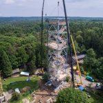Bau neuer Elbblickturm, neu, Wildpark Schwarze Berge, 2017, Kran, Basutelle, Gerüst, 45m hoch