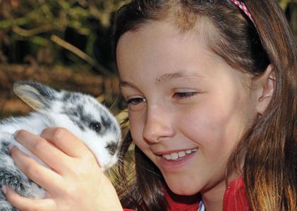 Mädchen mit Kaninchen im Wildpark Schwarze Berge, Mädchen, Kaninchen, Nachwuchs, Ferienprorgamm