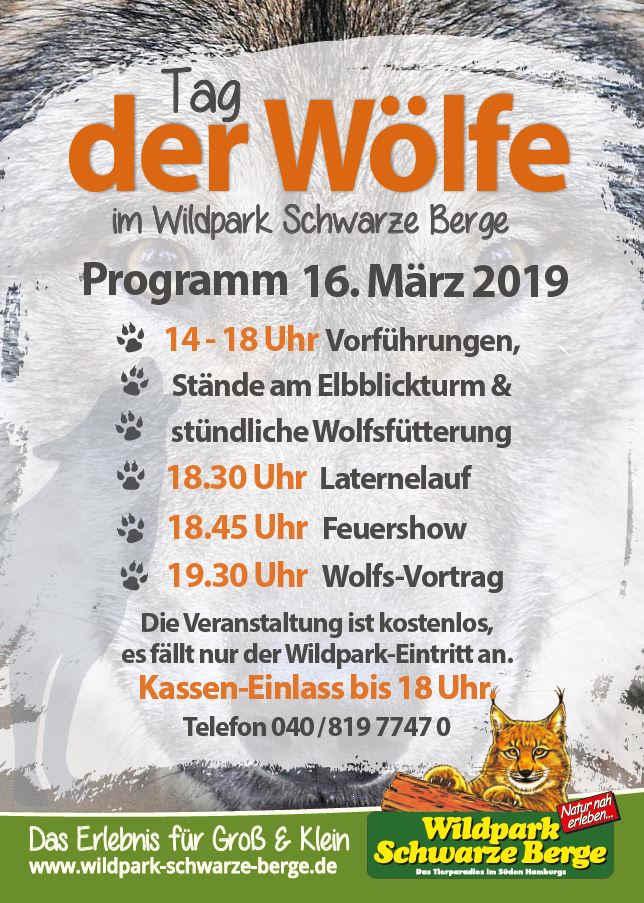 Programm Tag des Wolfes im Wildpark Schwarze Berge, Wolfs-Vortrag, Wolfsütterungen, Laternelauf, Feuersho, Wolfstag, Tag des Wolfes, Veranstaltung
